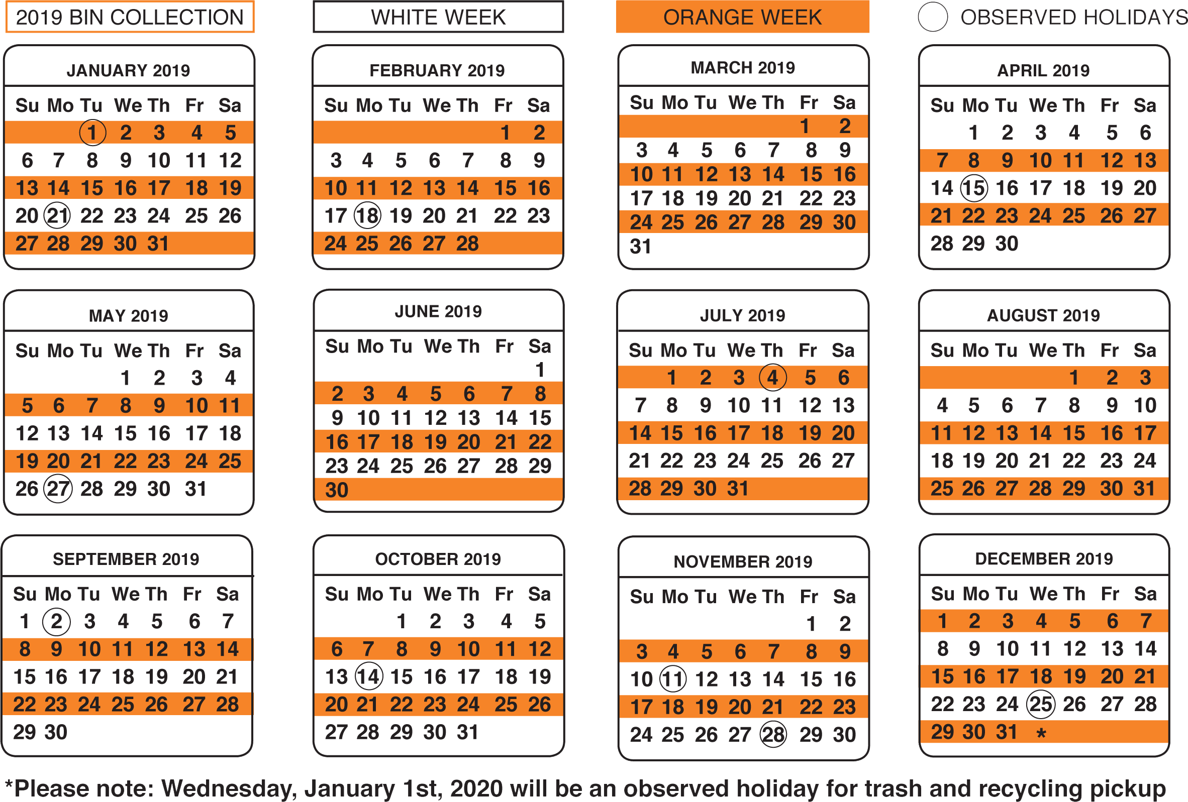 Calendar For Waste Management For December Of 2020 Trash & Recycling   City of Woburn